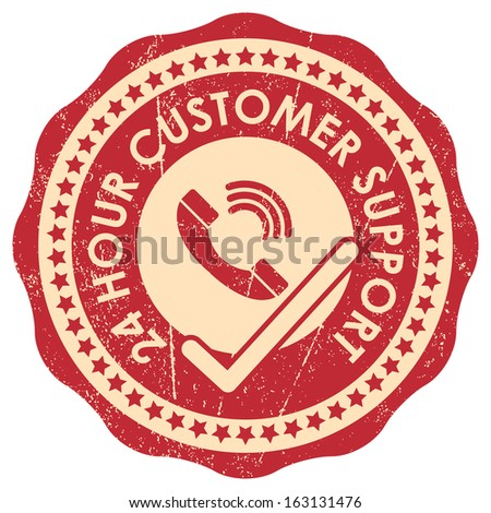 Business or Marketing Material Present By Red Grunge Style 24 Hour Customer Support Sticker or Icon With Telephone and Check Mark Sign Isolated on White Background  - stock photo