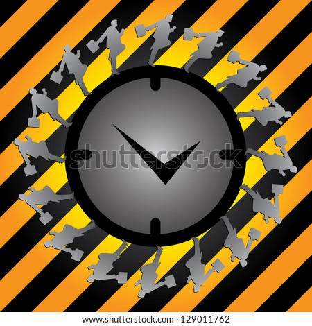 Business Or Time Management Concept Present By The Businessman Running Around The Clock in Caution Zone Dark and Yellow Background - stock photo