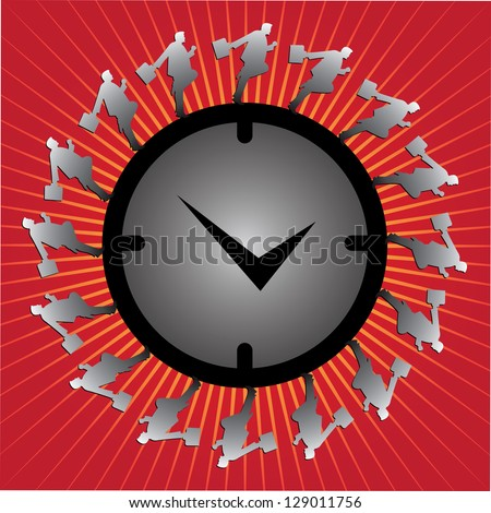 Business Or Time Management Concept Present By The Businessman Running Around The Clock in Red Glossy Style Background - stock photo