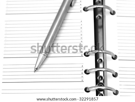 business organizer with silver pen - stock photo