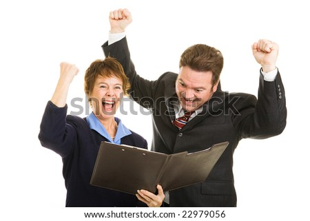 Business parters overjoyed by latest economic numbers.  Isolated on white.