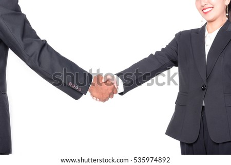 Business partner handshake for their success in business isolated on white background.