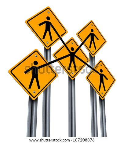 Business partners and teamwork concept as a group of traffic signs with people holding hands connected together as a company organization for team community success isolated on a white background. - stock photo