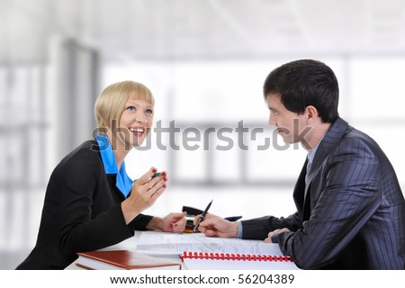 Business partners at the negotiating table in the office. - stock photo