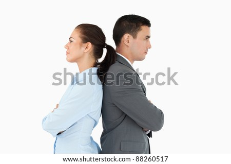 Business partners back-to-back against a white background - stock photo