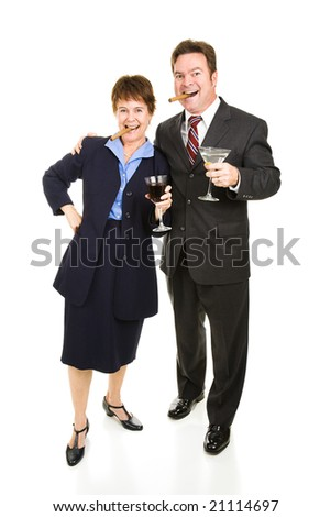 Business partners celebrating their success with cigars and cocktails.  Isolated on white. - stock photo
