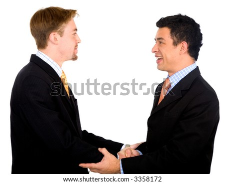 business partners deal - smiling over a white background - stock photo
