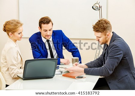 Business partners lead the discussion at the meeting.  - stock photo