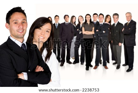 business partners leading a huge business team over a white background - stock photo