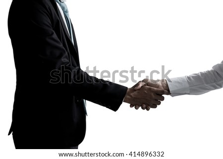 Business partners shaking hands isolated on white, Business handshake, shaking hands, business, business. - stock photo