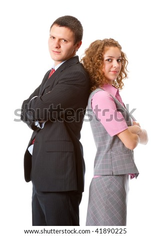 Business partners stand back to back isolated over white background
