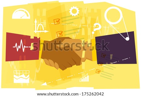 Business Partnership Abstract - Illustration - stock photo
