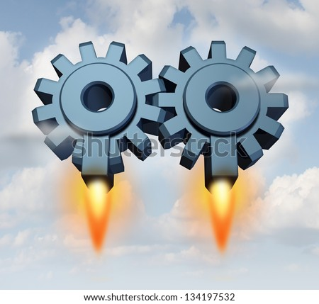 Business partnership launch with a group of two gears or cogs connected together as a working team with rocket launchers taking off for financial success on a sky background. - stock photo