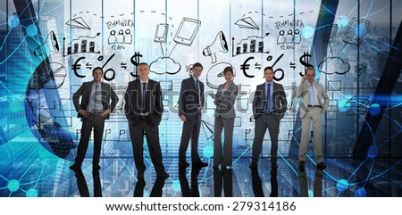Business people against room with large window looking on city - stock photo