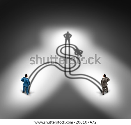 Business people agreement and money teamwork or financial team concept as a group of businessmen standing in front of their cast shadow shaped as a dollar sign icon as a metaphor for wealth success.