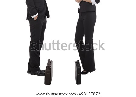 Business people and briefcase