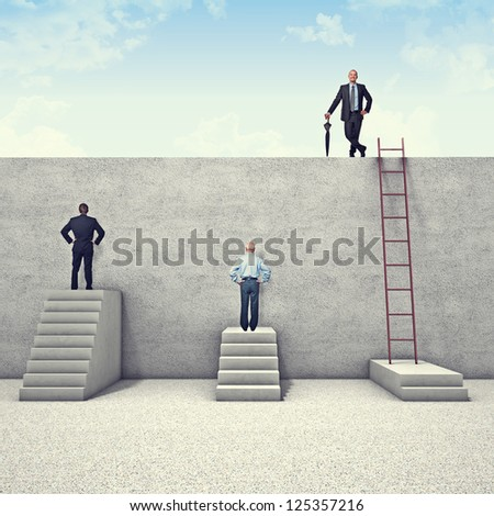 business people and metaphoric obstacle - stock photo