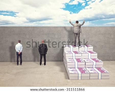 business people and money stair