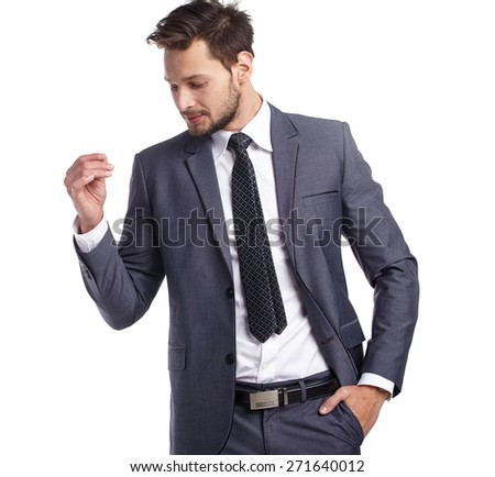 business, people and office concept - happy smiling businessman in suit