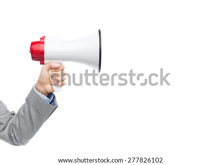 business, people and public announcement concept - closeup of male hand in suit with megaphone - stock photo