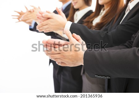 business people applauding on isolated white background - stock photo