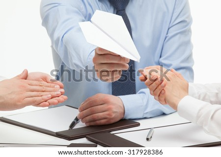 Business people approved new project, white background - stock photo