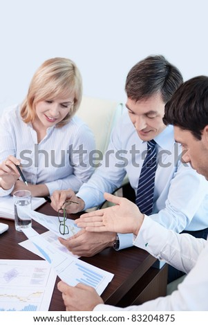Business people are discussing in the office - stock photo