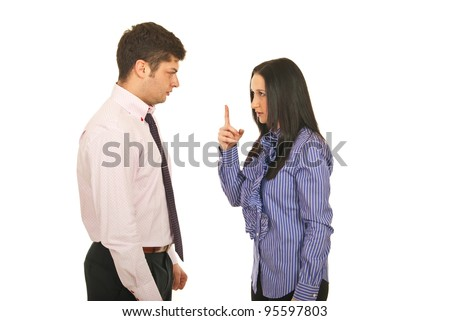 Business people arguing isolated on white background