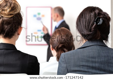 Business people at a meeting with a boss