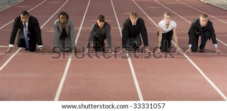 Business people at starting line - stock photo