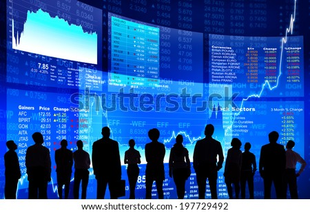 Business People at Stock Market Wall - stock photo