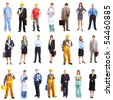 Business people, builders, nurses, doctors, workers. Isolated over white background - stock photo