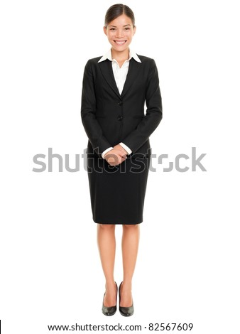 Business people - business woman standing in full body smiling happy at camera isolated on white background - stock photo