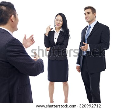 business people chatting, isolated on white background. - stock photo