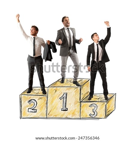 Business people cheering for their big success - stock photo