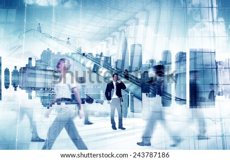 Business People City Standing Out From The Crowd Concept - stock photo