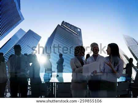 Business People Cityscape Architecture Building Business Metropolis Concept - stock photo
