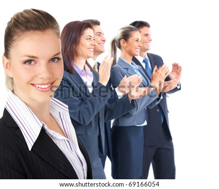 Business people clapping. Isolated over white background - stock photo