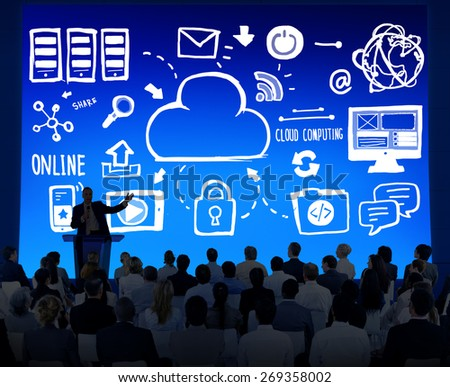 Business People Cloud Computing Seminar Conference Concept - stock photo