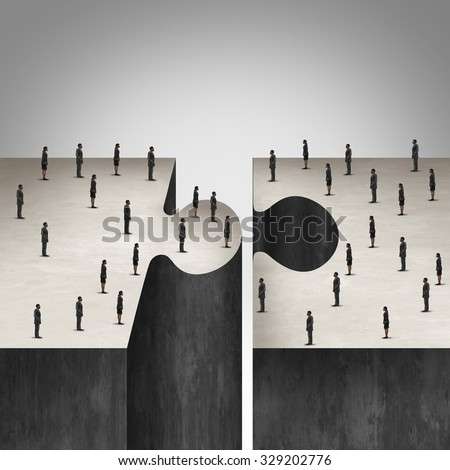 Business People collaboration concept as a jigsaw puzzle with two groups of businesspeople coming together as a corporate symbol for group agreement to build a project. - stock photo
