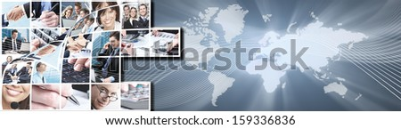 Business people collage background banner. Networking concept. - stock photo