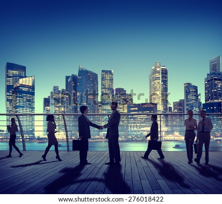 Business People Colleagues Interaction Handshake Outdoors City Concept - stock photo