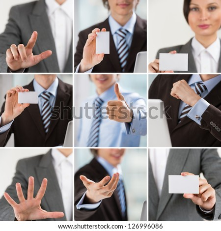 Business people collection of images with man and woman showing gestures and business cards - stock photo