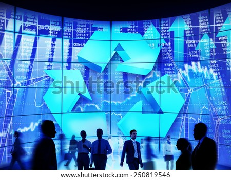 Business People Commuter Technology Security Recycling Conservation Concept - stock photo