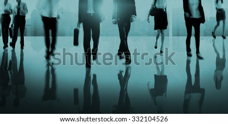 Business People Commuter Walking Cityscape Abstract Concept - stock photo