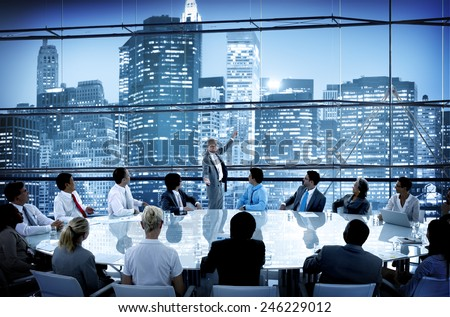 Business People Conference Meeting Boardroom Leader Interaction Concept - stock photo