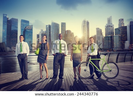 Business People Confidence Healthy Leisure Recreation Outdoors Concept - stock photo