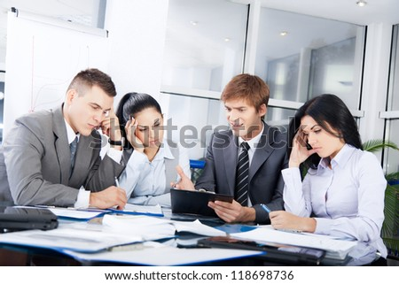 business people conflict working problem, angry boss argue scream to colleagues businessmen and women serious argument negative emotion businesspeople discussing report meeting at desk office - stock photo