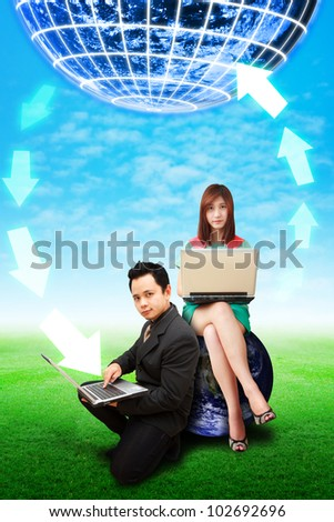 Business people connect to the world - stock photo