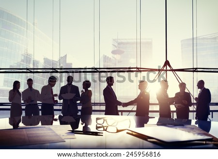 Business People Connection Interaction Handshake Agreement Greeting Concept - stock photo